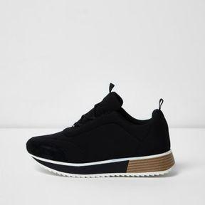 River Island Womens Black scuba textile sole runner sneakers
