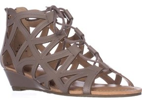 Esprit Cacey Geometric Cutout Lace Up Wedge Ankle Booties, Elephant.
