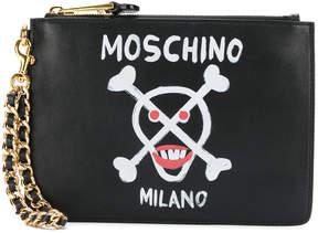 Moschino skull clutch purse