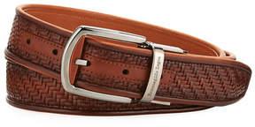 Ermenegildo Zegna Reversible Pelle Tessuta Leather Belt, Light Brown
