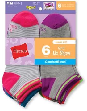 Hanes No Show Socks, 6 Pairs (Big Girls)