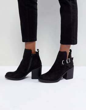 London Rebel Block Heeled Buckle Ankle Boot with Side Zip