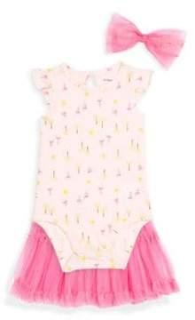 Petit Lem Baby Girl's Three-Piece Cotton Bodysuit, Mesh Skirt and Headband Set