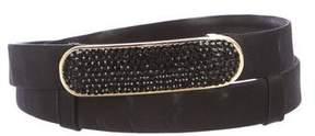 Judith Leiber Satin Embellished Waist Belt