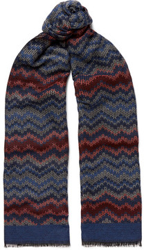 Missoni Fringed Crochet-Knit Wool And Silk-Blend Scarf