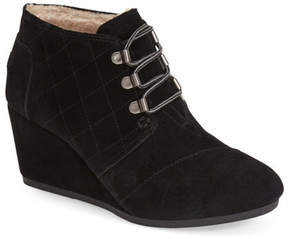Toms Desert Suede Faux Shearling Lined Wedge Bootie