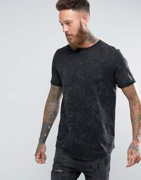 Asos Longline T-Shirt With Curved Hem In Subtle Acid Wash In Black