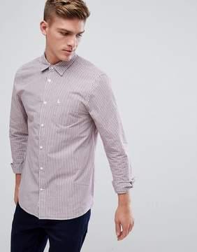 Jack Wills Salcombe Regular Fit Poplin Stripe Shirt In Damson