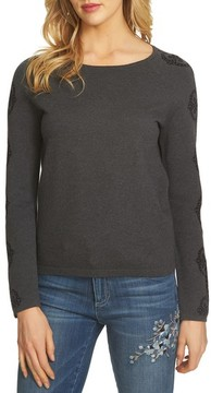 CeCe Women's Jacquard Sleeve Sweater