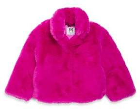 Milly Minis Toddler's, Little Girl's & Girl's Stand Collar Faux Fur Jacket