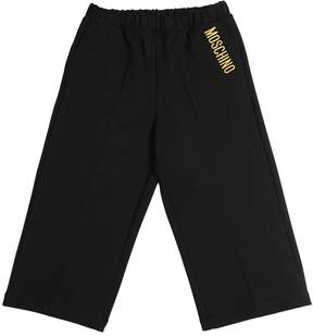 Moschino Embroidered Wide Leg Milano Jersey Pants