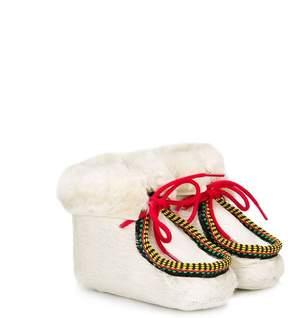 Pépé lace-up shearling crib shoes