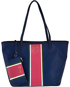 As Is C. Wonder Large Racing Stripe Tote Bag with Mini Pouch