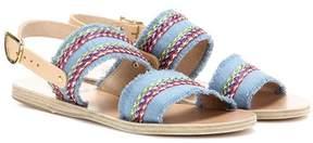Ancient Greek Sandals Dinami Raffia fabric and leather sandals