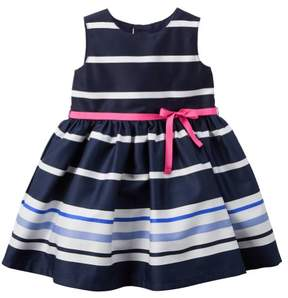 Carter's Baby Clothing Outfit Girls Striped Sateen Dress Navy NB