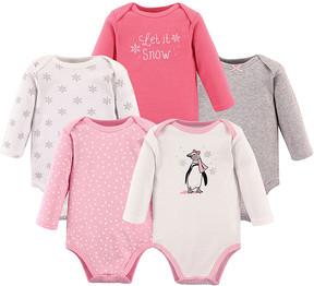 Hudson Baby Pink & Gray Penguin Long-Sleeve Bodysuit Set - Infant