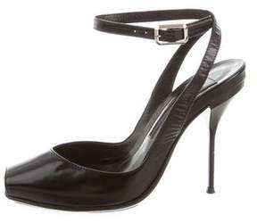 Narciso Rodriguez Leather Peep-Toe Pumps
