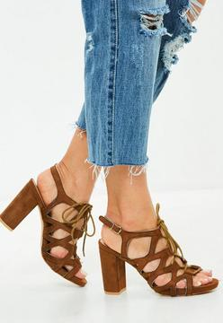 Missguided Brown Caged Lace Up Sandals