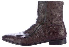 Prada Ostrich Ankle Boots