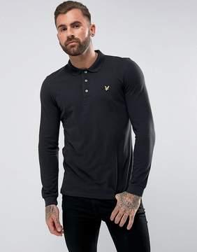 Lyle & Scott Long Sleeve Logo Polo Shirt Black