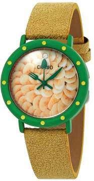 Crayo Slice of Time Banana Cream Pie Pattern Dial Yellow Suede-Overlaid Leather Ladies Watch