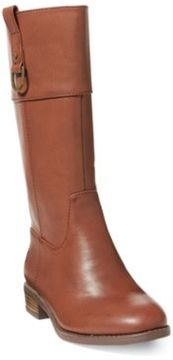 Ralph Lauren Mesa Faux-Leather Riding Boot Chocolate Tumbled 12.5