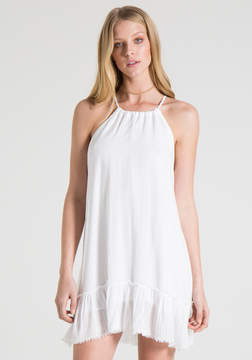 Bella Dahl Fray Ruffle Halter Dress -White-XS