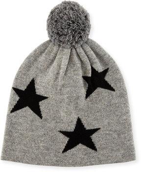 Neiman Marcus Cashmere Star Knit Beanie Hat