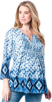 A Pea in the Pod Maternity Printed Pintucked Blouse
