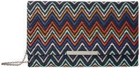 Jessica McClintock - Nora Straw Chevron Clutch Clutch Handbags