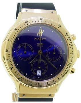 Hublot MDM Chronograph 18K Yellow Gold & Blue Dial Mens Watch