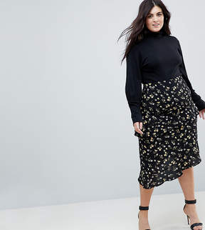 Fashion Union Plus Midi Skirt With An Asymmetric Tiered Ruffles In Daisy Floral