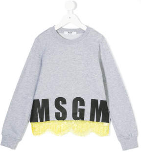 MSGM ruffle detail logo sweater