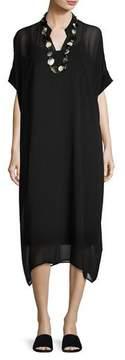 Eileen Fisher Long Boxy Sheer Silk Dress, Black