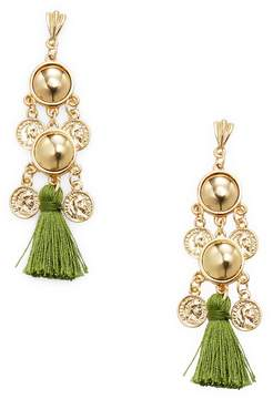 Ettika Jewelry Women's Coin Chandelier Tassel Statement Earrings
