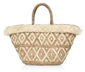 KAYU Lillian Embroidered Raffia Tote