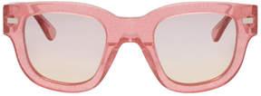 Acne Studios Pink Glitter Frame Metal Sunglasses