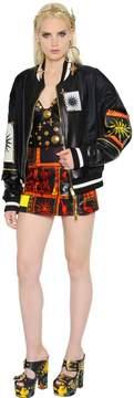 Fausto Puglisi Nylon & Leather Bomber Jacket