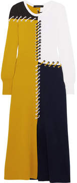 Cédric Charlier Color-block Whipstitched Wool And Cashmere-blend Midi Dress - Navy