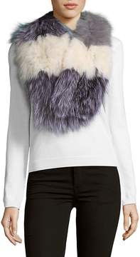 La Fiorentina Women's Striped Fox Fur Scarf