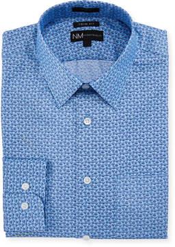 Neiman Marcus Trim-Fit Mini-Floral Dress Shirt