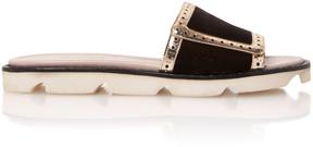 Malone Souliers Alberta Leather-Trimmed Velvet Slides