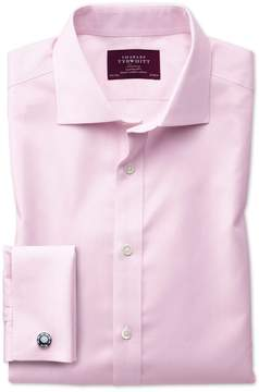 Charles Tyrwhitt Extra Slim Fit Semi-Spread Collar Non-Iron Luxury Hairline Stripe Pink Cotton Dress Shirt French Cuff Size 14.5/33