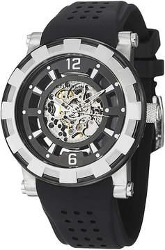 Stuhrling Original Sthrling Original Mens Silver-Tone Bezel Black Silicone Strap Skeleton Automatic Watch