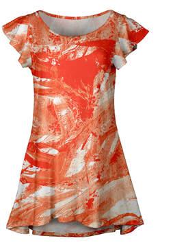 Lily Orange & White Abstract Ruffle-Sleeve Tunic - Women & Plus