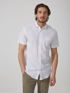 Frank and Oak Short-Sleeved Cotton-Linen Oxford Shirt in Bright White