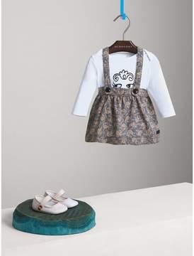 Burberry Leaf Print Cotton Blend Pinafore Skirt