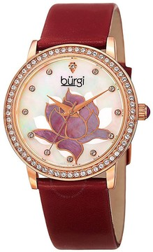Burgi Mother Of Pearl Dial Ladies Leather Watch
