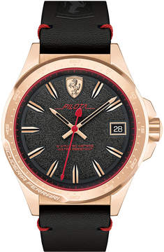 Ferrari Men's Pilota Black Leather Strap Watch 45mm