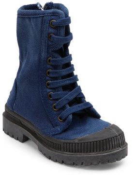 Cienta Toddler/Kids) Indigo Faux Fur-Lined Canvas Combat Boots